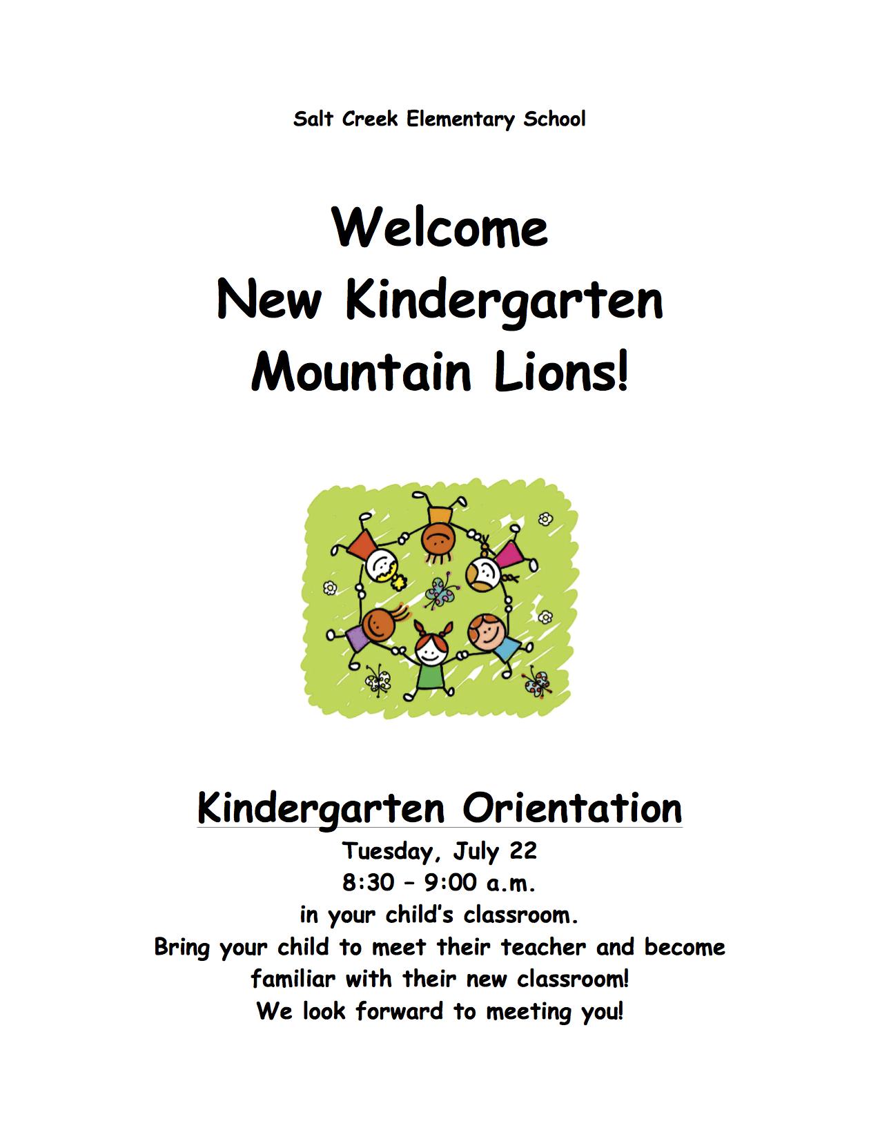 Kindergarten Orientation Tuesday July 22