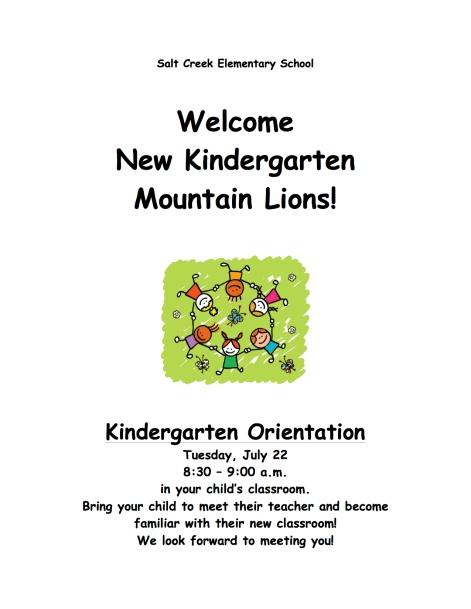 Kinder Orientation flyer