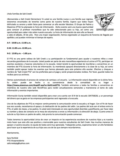 Welcome Letter PTG - Spanish