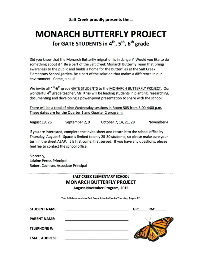 Monarch Flyer Aug - Nov 2015