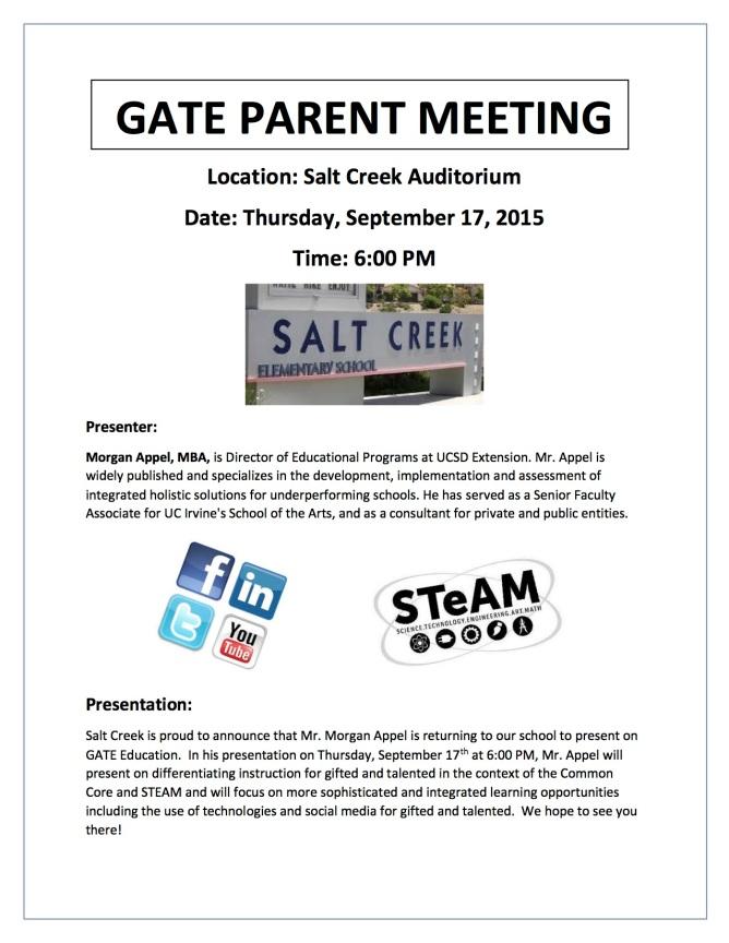 GATE PARENT MEETING Flier