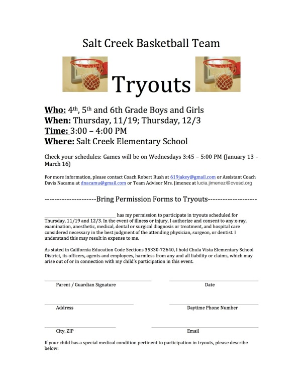 Salt Creek Tryouts