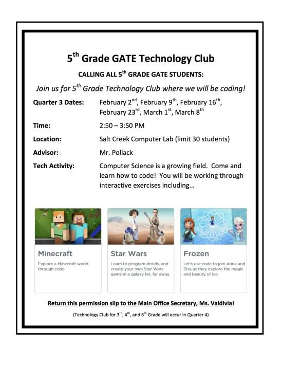 5th Grade GATE Technology Club
