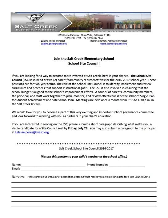 Salt Creek Letter SSC 2016-2017