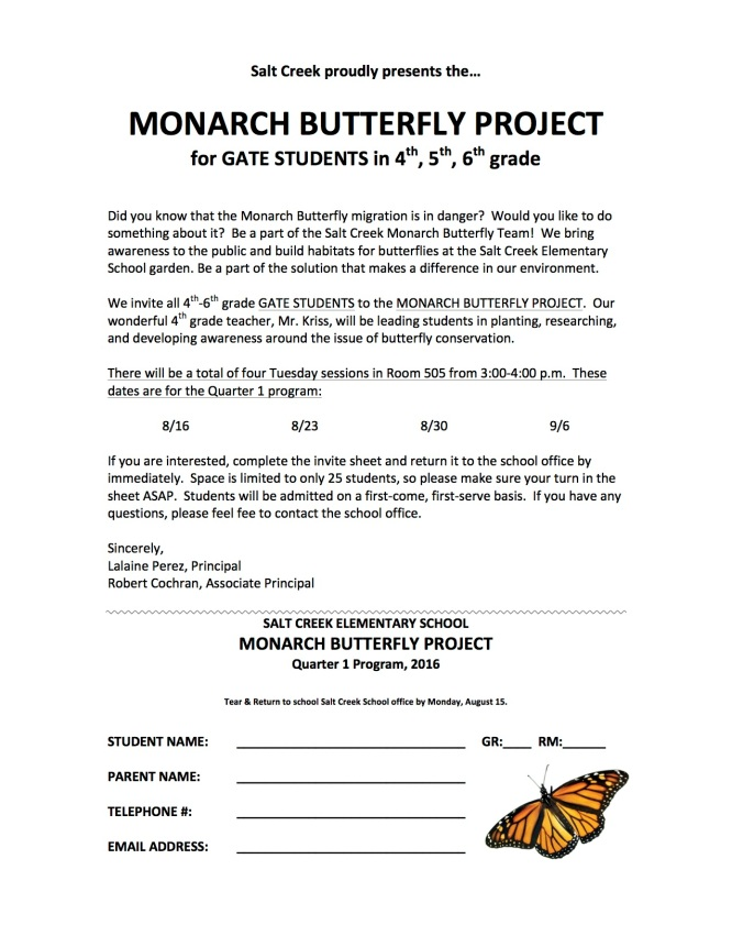Monarch Flyer  1st Quarter Grade 4 5 6