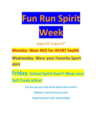 Fun Run Spirit Week